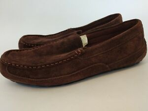 07a85792db5 Details about UGG Alder Mens Moc Sueded Leather Wool Lined Slippers  Espresso Sz 10M Slip On