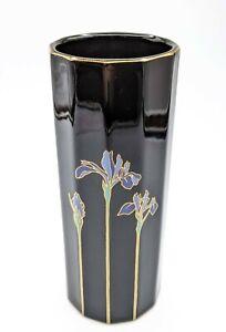 "Vintage Blue Iris Otagiri Japan Vase Black with Gold Trim 8.5"" Asian Floral MCM"