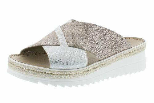 Rieker V3281-80 Schuhe Damen Plateau Keilpantoletten Sandalen weiß silber bronze