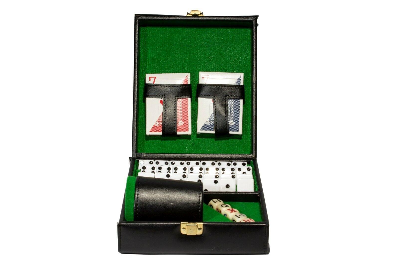 Deluxe Set 3 jeux  Domino, dés tasse, 2 Poker Cartes. Noir-Vert