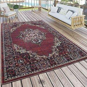 Outdoor Indoor Rug Oriental Look Style Red Garden Carpet