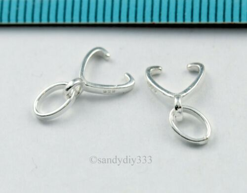 10x STERLING SILVER PENDANT PINCH BAIL CLASP CONNECTOR  #3144A