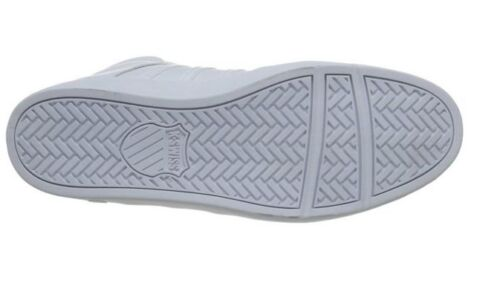 M White//White Leather Mid-Top Casual K-SWISS 03251-183 THE CLASSIC II Mn/'s