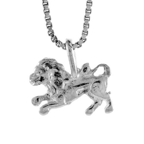 Sterling Silver Teeny Lion Pendant / Charm, 18 Italian Box Chain