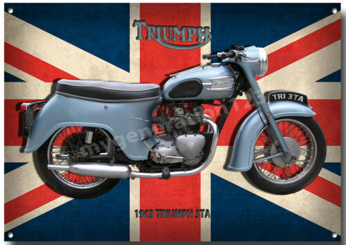 TRIUMPH 1963 3TA MOTORCYCLE METAL SIGN. CLASSIC BIKES A3