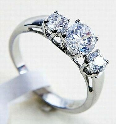 Stainless Steel 3 Round CZ Past Present Future Wedding Engagement Women's Ring