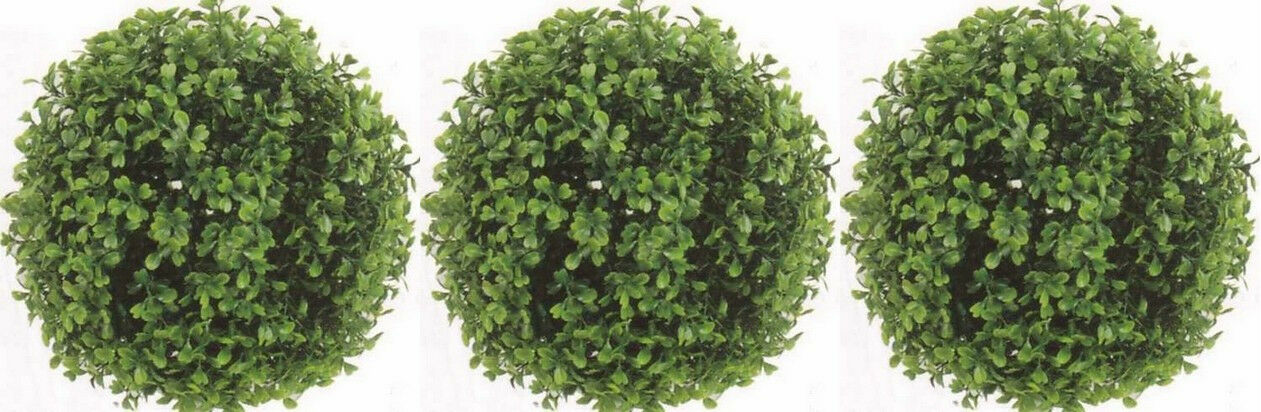 3 3 3 ARTIFICIAL BOXWOOD BALL IN OUTDOOR TOPIARY PLANT ARRANGEMENT BUSH 10  FLORAL fdc100