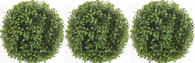 "3 ARTIFICIAL BOXWOOD BALL IN OUTDOOR TOPIARY PLANT ARRANGEMENT BUSH 10"" FLORAL"