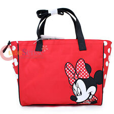 Disney Minnie Mouse Diaper Bag with Diaper Pad and Clear Pouch -Red Polka Bow