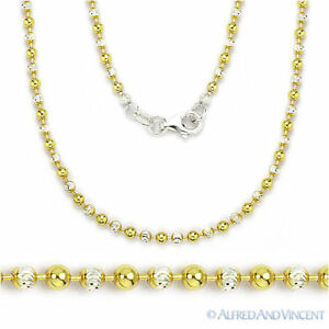 14k Yellow Gold Over .925 Sterling Silver Moon Cut Beaded Chain Necklace 5mm ...
