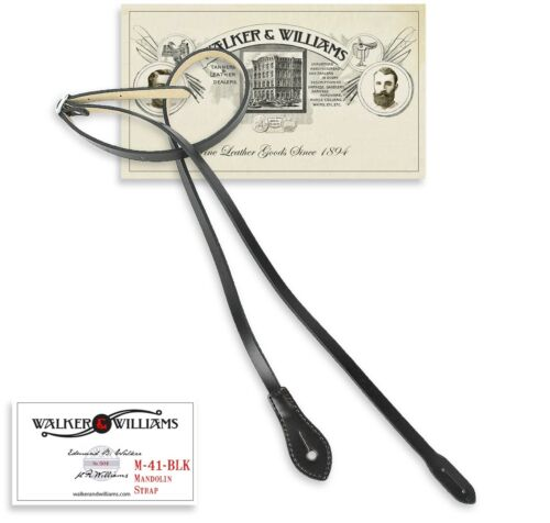 Walker & Williams M-41 Black  Leather Mandolin Strap For A or F Types