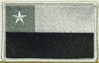Chile Flag Iron-on Tactical Patch Black, White & Gray White Border 13