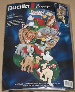 "1997 Bucilla ""Noah's Ark"" Animals Felt / Jeweled Christmas Stocking Kit NIP 18"""