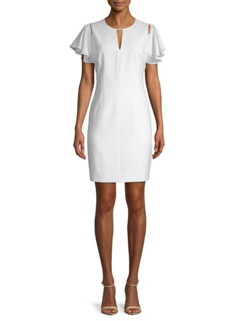 T Tahari Lovie Dress Size 6 White Cut Out Ruffle Short Sleeve V Neck Sheath NEW