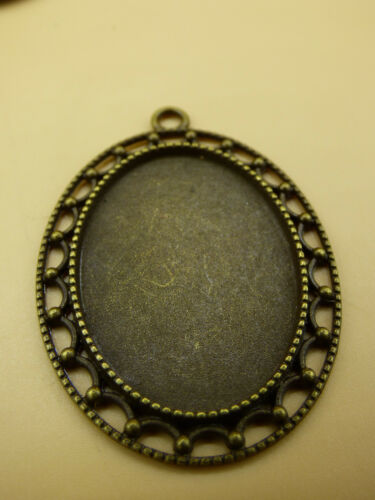 1x Cabochon Fassungen Oval Schmuck Basteln Antik Bronze Fach 35x25 mm; 50x35 mm
