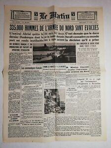 N1153 La Une Du Journal Le Matin 5 juin 1940 335.000 hommes de l'armée du nord
