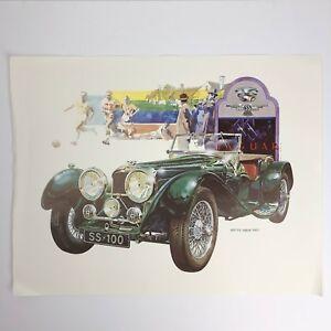 """Vintage Paul Melia Car Print / Poster - 1937 S.S. (Jaguar """"100"""") - 18"""" x 14"""""""