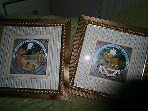 Vintage-Pair-of-Cute-Professionally-Framed-Teddy-Prints