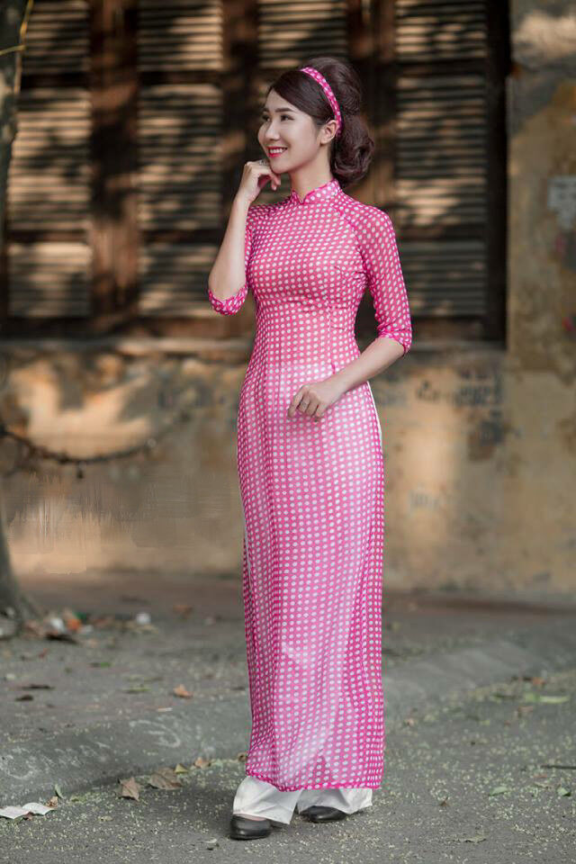 Pink Ao Dai Small White Polka Dots Handmade Vietnamese Authentic Traditional
