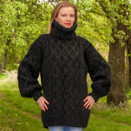 Knitted Aran Sale Cable Hand Black Sweater Mohair Turtleneck Supertanya d7WqIqxvwH