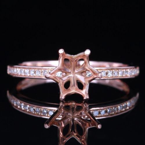 6-6.5mm Round Diamond Fashion Engagement Semi-Mount Ring Solid 14K Rose Gold
