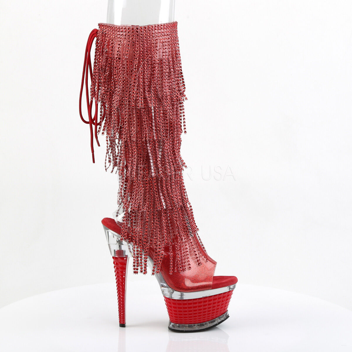 Illusion Facet Heel Fringe Open Toe Platform Knee Boot 6.5