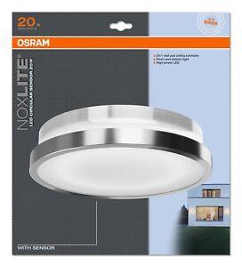 Details Zu Osram Led Wand Außenleuchte Noxlite Circular Sensor 1000 Lumen Silber Rund