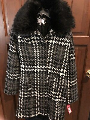 New Xhilaration Womens Coat Faux Fur Collar Houndstooth Black Gray Warm