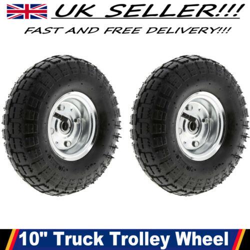 "2 X 10/"" Pneumatic Sack Truck Trolley Wheel Barrow Tyre Tyres Wheels 4.10//3.5-4.0"