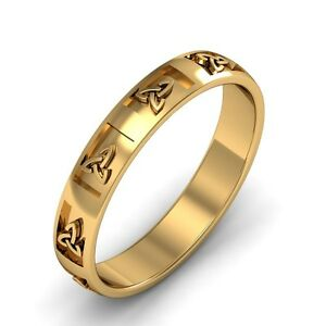 10k Gold Irish Handcrafted Celtic Trinity knot Design Wedding Band Ring 6mm wide
