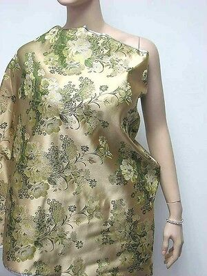 Chinese artificial silk gold green floral brocade upholstery fabric meter online