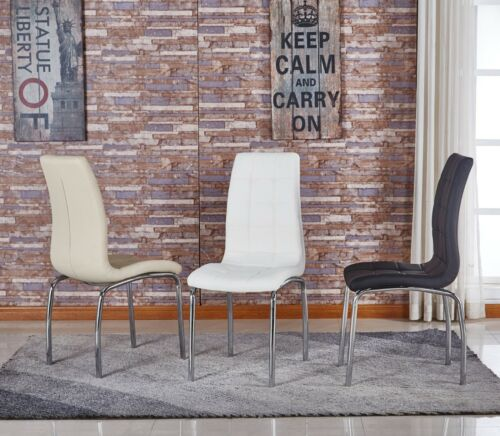 New Dining Kitchen Chairs in Faux Leather Padded Seat Cushion With Chrome Frame