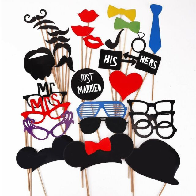 31 PCS Minnie Mickey Mouse Ears Mustache Photo Prop Booth Party Favor USA Seller