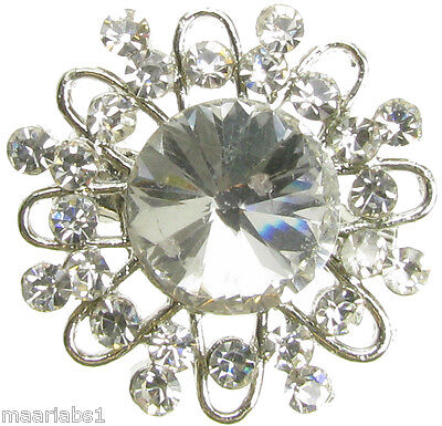 Broche Diamante Cristal Plata Vintage Zapato Pin Novia Pastel Decoración Nuevo UK