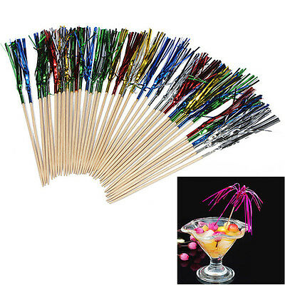 40pcs Paper Fruit Cocktail Rainbow Fireworks Drink Picks Sticks Wedding Party