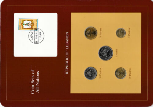 Coin Sets of All Nations Lebanon w//card UNC 1975-1981 50 Piastre 1978 1 Livre 81