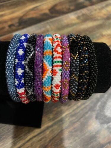 10 SET Nepal Rolls Glass Beaded bracelet crochet handmade bead bangle USA