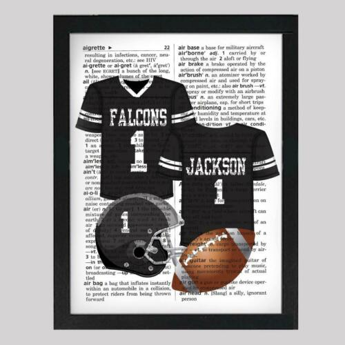 Personalized Football Jersey Upcycled Dictionary Art Print Unique Gift Print