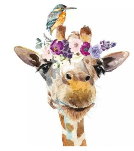 4x Paper Napkins for Decoupage Decopatch //giraffe with flowers