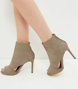 1d098d21900 Details about New Look Wide Fit Light Brown Suedette Cut Out Peep Toe Heels  Size 5 Brand New