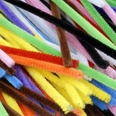 "100 Colourful Pipe Cleaners Chenille Craft Stem 4 mm x 150 mm 6"" Long CT4060"