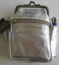 Silver Genuine Leather Snap Cigarette Case 2 Zipper pockets 1 Lighter Pouch 100s