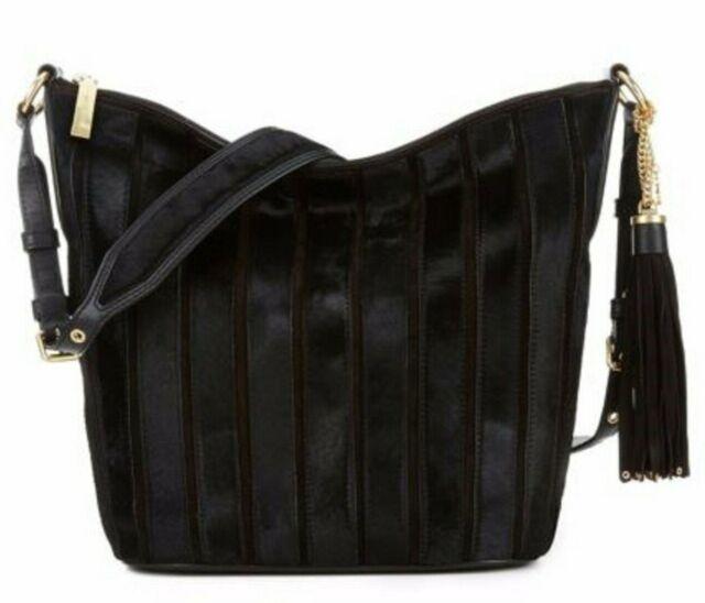 b7d4672d584d79 NWT Michael Kors Brooklyn LARGE Applique Stripe Leather Haircalf Feed Bag  BLACK