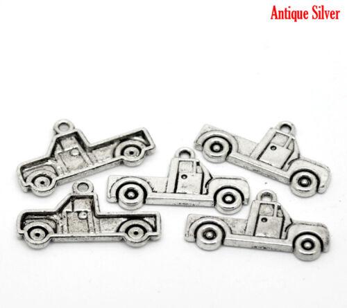5 ANTIQUE SILVER PICK UP TRUCK CAR CHARM//PENDANT 26mm Key Ring~Jewellery 3C UK