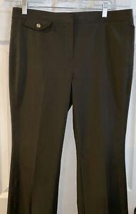 W By Worth Women's Dark Olive Greenish Brown Stretch Dress Pants Size 8 33x30