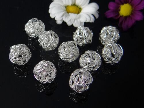 métal perles Fil Perle Enveloppé p-43 Fil Perles Ø 12//14 mm 5 pcs