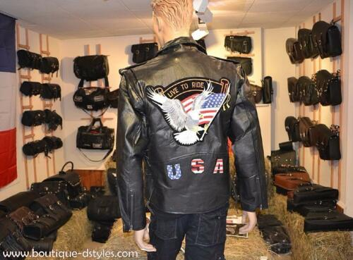 Blouson en Cuir Aigle biker custom harley Live To Ride { M L XL 2XL 3XL }