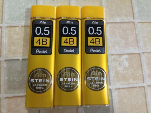 "Pentel /""Ain STEIN/"" pencil lead 4B 0.5mm x 3 tubes x 40pcs x60mm FREE Shipment"