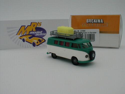 Brekina 31590-volkswagen t1b Camper blanco-verde dachboy con bidón 1:87 nuevo!!!