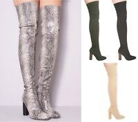 Ladies Womens Thigh High Knitted High Heel Fashion Party Casual Shoes Sizes 4-9